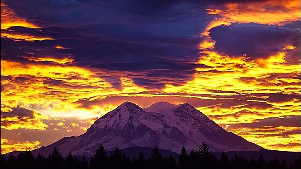 Dramatic sunrise over Mt. Rainier signals approaching winter